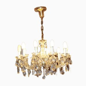Vintage Crystal, Glass, and Brass Chandelier, 1940s