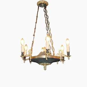 Antique Empire Bronze and Metal Ceiling Lamp