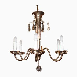 Mid-Century Gold Metal Chandelier