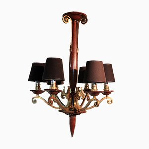 Vintage Brass and Wood Ceiling Lamp, 1940s