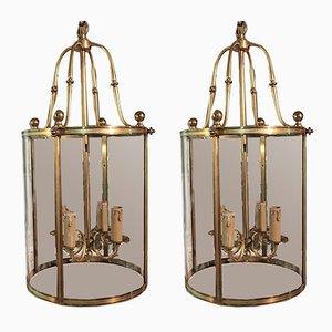 Vintage Deckenlampen aus Messing & Glas, 2er Set