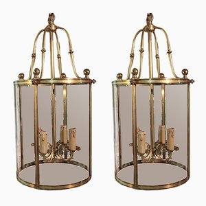 Vintage Brass and Glass Ceiling Lamps, Set of 2