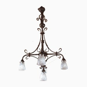 Vintage Wrought Iron 5-Arm Chandelier, 1920s
