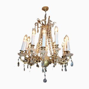 19th Century Bronze, Crystal, and Porcelain Chandelier