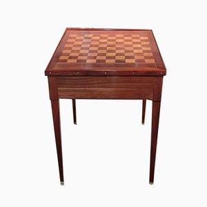 Tavolo da gioco antico impiallacciato in mogano