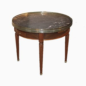 Vintage Louis XVI Style Mahogany and Grey Bouillotte Coffee Table