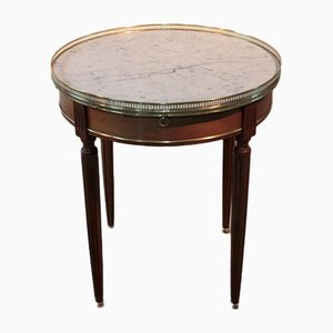 Vintage Louis XVI Style Mahogany and Marble Bouillotte Coffee Table
