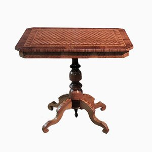 Antique English Walnut and Mahogany Marquetry Coffee Table