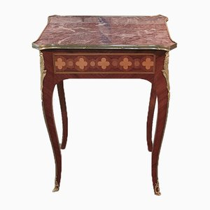 Vintage Louis XV Style Rosewood and Marble Coffee Table