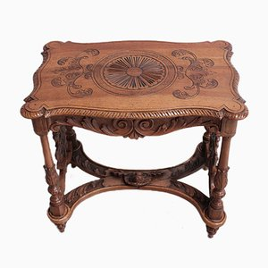 Vintage Carved Walnut Coffee Table, 1920s