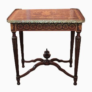 Antique Mahogany and Beech Marquetry Side Table