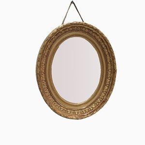 Miroir Ovale Antique avec Cadre Doré