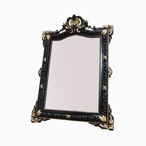Antique Square Blackened Wood Mirror