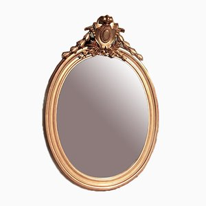 Oval Antique Giltwood-Framed Mirror