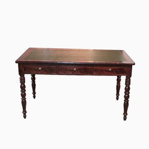 19th Century Louis Philippe Mahogany Veneer Desk
