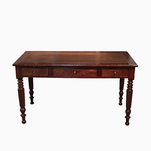 Antique Louis Philippe Style Mahogany Veneer Desk