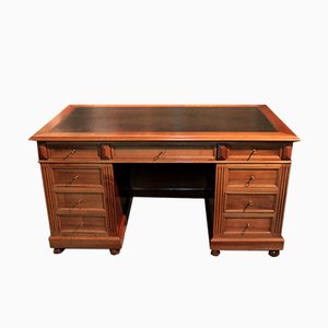 Vintage Walnut and Leather Desk, 1920s