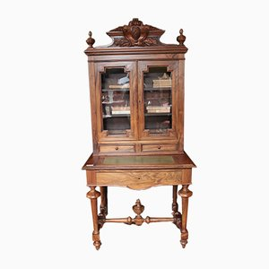 Vintage Walnut Bookcase Desk