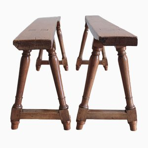 Antique Cherry Benches, Set of 2