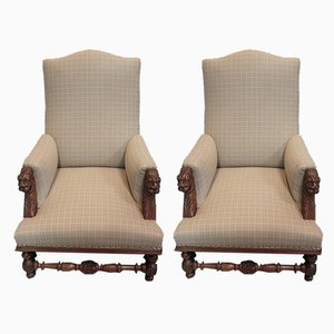 Large Antique Louis XIII Style Walnut Armchairs, Set of 2