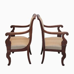 Antike Armlehnstühle aus Mahagoni, 2er Set