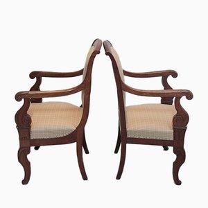 Antique Mahogany Armchair, Set of 2