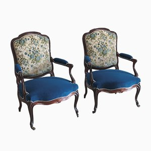 Antique Louis XV Rosewood Armchairs, Set of 2