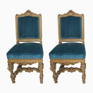 Antike Beistellstühle mit vergoldetem Gestell, 2er Set