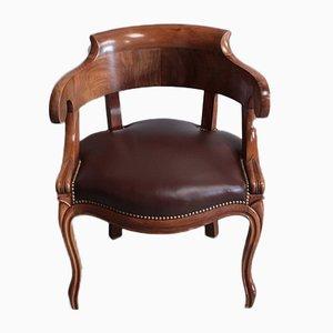 Antiker Armlehnstuhl mit Gestell aus Nussholz