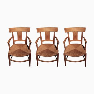 Antique Cherry Armchairs, Set of 3