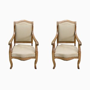 Small Antique Louis Philippe Armchairs, Set of 2