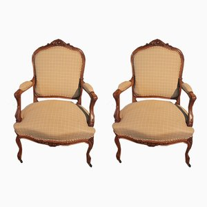 19th Century Louis XV Walnut Armchairs, Set of 2