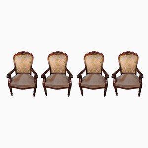 Antike Louis Philippe Armlehnstühle aus Mahagoni, 4er Set