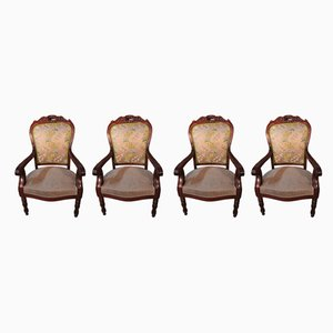 Antique Louis Philippe Mahogany Armchairs, Set of 4