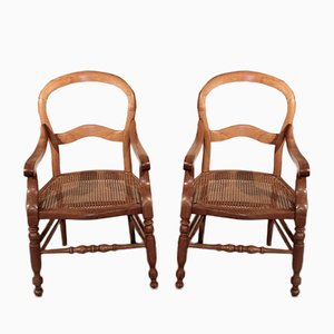 19th Century Cherry Wood Armchairs, Set of 2