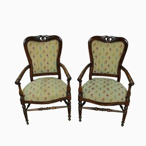 Antique Rosewood Armchairs, Set of 2