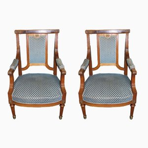 Vintage Oak Armchairs, Set of 2