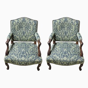 Antique Beech Armchairs, Set of 2
