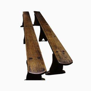 Panche antiche in legno di pino, inizio XX secolo, set di 2