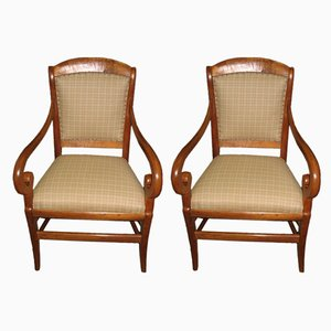 Antique Cherry Wood Armchairs, Set of 2