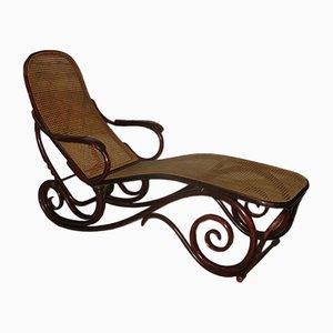 Chaise longue vintage in faggio, mogano e canna di Thonet