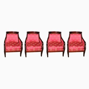 Vintage Mahogany Armchairs, Set of 4
