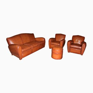 Mid-Century Leather Living Room Set, 1950s