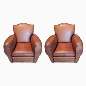Mid-Century Leather Club Chairs, Set of 2