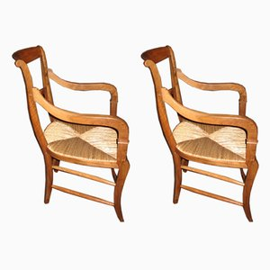 Antique Walnut Armchairs, Set of 2