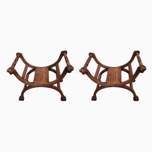 Antique Walnut Armchairs, Set of 2