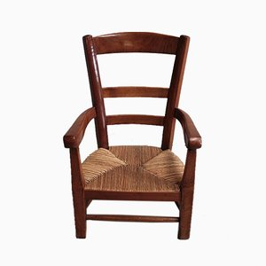 Sedia da bambino antica in legno di betulla