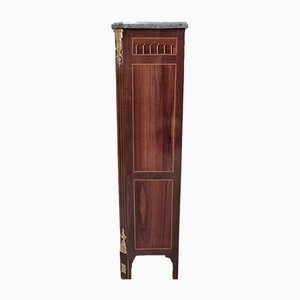 Antique Rosewood, Mahogany, and Marble Marquetry Secretaire