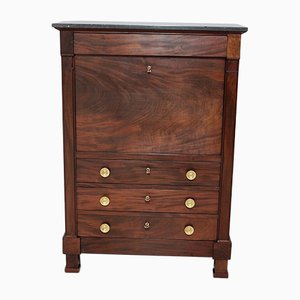 18th Century Mahogany Veneer and Black Marble Secretaire