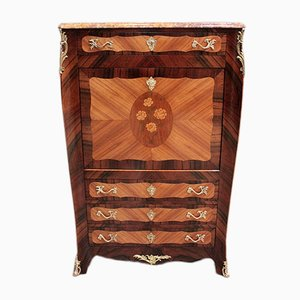 Vintage Rosewood and Oak Marquetry Secretaire
